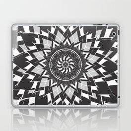 GREY, BLACK AND WHITE FLOWER OF LIFE Laptop & iPad Skin