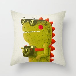 Dino touristo (olive) Throw Pillow