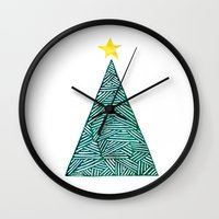 christmas tree Wall Clocks featuring Christmas tree by Bridget Davidson