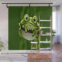 Adorable Funny Cute Green Frog In Tree Wall Mural