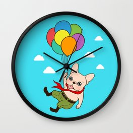 Cute Frenchie is flying away with balloons for his adventure Wall Clock