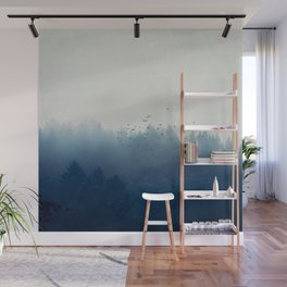 misty blue forest Wall Mural