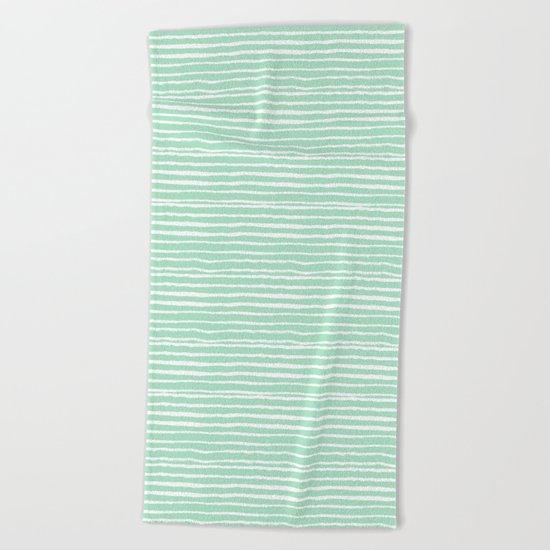 Mint stripes painted stripe pattern minimal nursery gender neutral Beach Towel