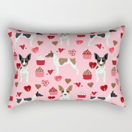 Rat Terrier valentines day cupcakes love hearts dog breed pet art dog pattern gifts unique pure bree Rectangular Pillow
