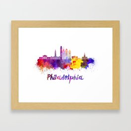 Philadelphia V2 skyline in watercolor Framed Art Print