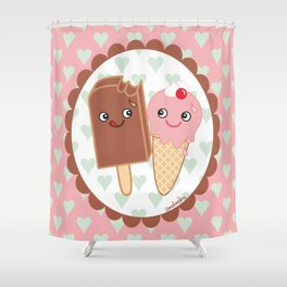 Ice creams in love Shower Curtain
