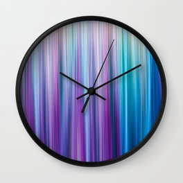 Abstract Purple and Teal Gradient Stripes Pattern Wall Clock