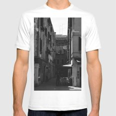 Calle Marcello b&w Mens Fitted Tee White MEDIUM