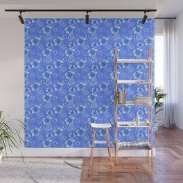 Blue Honu And Hibiscus Hawaiian Pattern Wall Mural