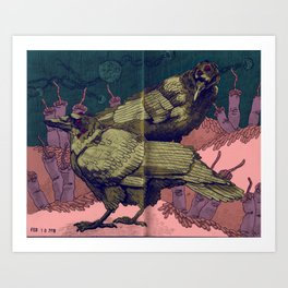 Crows Playing in the Body Farm Art Print