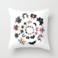 psychology Throw Pillows featuring Rorschach test subjects' perceptions of inkblots psychology   thinking Exner score  by Luxorama