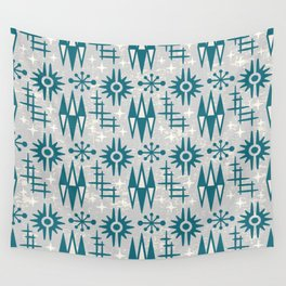 Mid Century Modern Atomic Space Age Pattern Grey Green Wall Tapestry