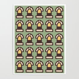 New York Windows Pattern 261 Brown Green and Yellow Poster