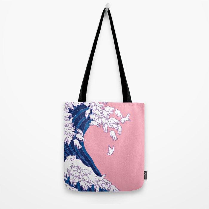 Llama Waves in Pink Tote Bag