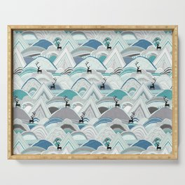 caribou mountains blue Serving Tray
