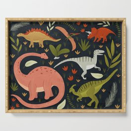 Dinos in the night Serving Tray