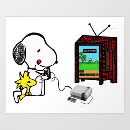 Game on Snoopy Art Print