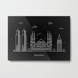 Istanbul Minimal Nightscape / Skyline Drawing Metal Print