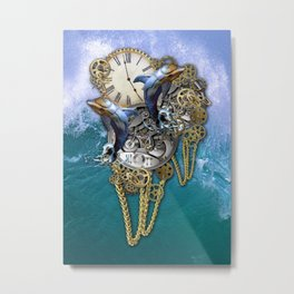 Steampunk Dolphin Time Metal Print