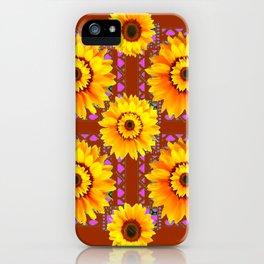 CINNAMON COLOR YELLOW SUNFLOWERS ART iPhone Case