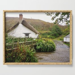 THATCHED COTTAGE BY RIVER CROSSING CORNWALL Serving Tray