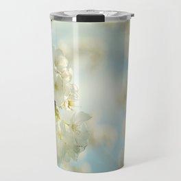 White apple blossoms and a spring blue sky Travel Mug