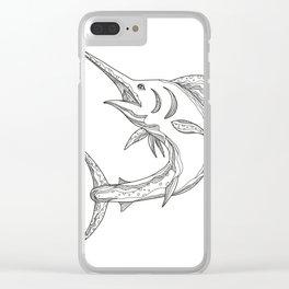 Atlantic Blue Marlin Doodle Clear iPhone Case