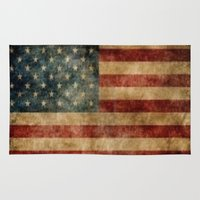 american flag Area & Throw Rugs featuring American Flag by KOverbee