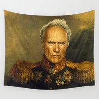 replaceface Wall Tapestries featuring Clint Eastwood - replaceface by replaceface