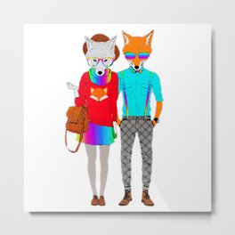 Bright, Colorful, Rainbow Hipster Wolf and Fox Couple Metal Print