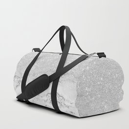 Modern faux grey silver glitter ombre white marble Duffle Bag