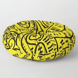Yellow Street Art Graffiti Train Ticket Floor Pillow