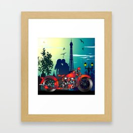 Romantic Kiss in Paris Framed Art Print