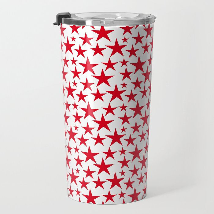 Red stars on white background illustration Travel Mug