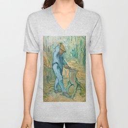 Van Gogh, The Woodcutter, 1889 Unisex V-Neck