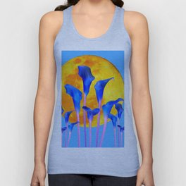 GOLDEN FULL MOON BLUE CALLA LILIES BLUE ART Unisex Tank Top