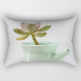Succulent in tea pot Rectangular Pillow