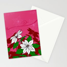 Christmas White Poinsettia Flowers with Red Accents Stationery Cards