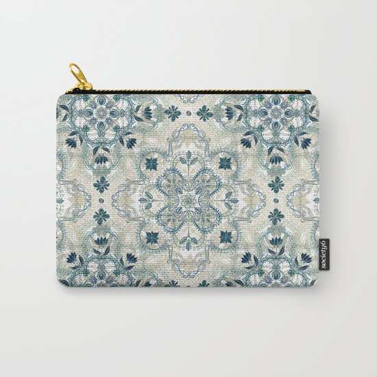 Forest Green & Neutral Taupe Detailed Lace Doodle Pattern Carry-All Pouch