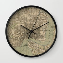 Vintage Map of Jacksonville Florida (1917) Wall Clock