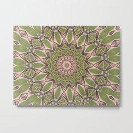 Soft Green Mandala Kaleidoscope A460 Metal Print