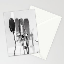 Microphone black and white Stationery Cards