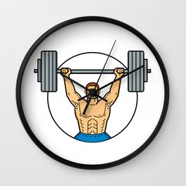Weightlifter Lifting Barbell Mono Line Art Wall Clock
