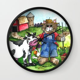 Farmer Fluffy at Harvest Time Wall Clock