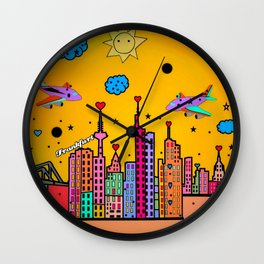 Frankfurt Popart by Nico Bielow Wall Clock