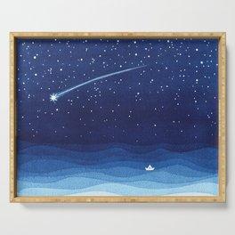 Falling star, shooting star, sailboat ocean waves blue sea Serving Tray