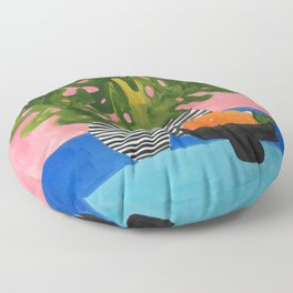 Pink Wall Monstera Floor Pillow