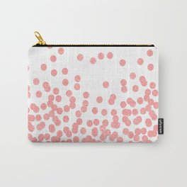 Scattered Glitter Dots in grapefruit blush pink girly cute colors for trendy cell phone case Carry-All Pouch