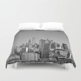 Black and White Philadelphia Skyline Duvet Cover