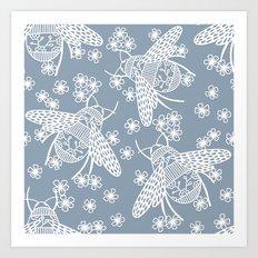 Papercut Bees Art Print